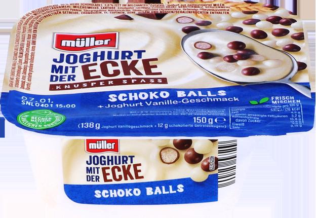 Müller Joghurt mit der Ecke Knusper Schoko Balls