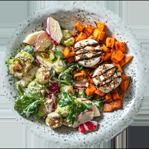 Rosenkohl-Apfel-Salat mit Ziegenkäsetalern