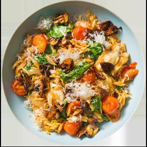 Orzo-Nudeln-Risotto mit rauchigen Pilzen